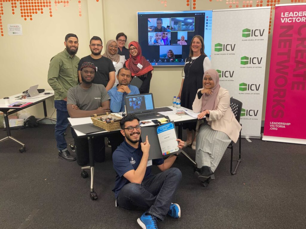 Group of people smiling from Emerging Young Muslims Leadership Program 2020 Graduation